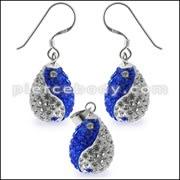 Mutli Preciosa Crystal Tear Drop Ying Yang Earring and Pendant