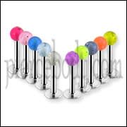 316L Surgical steel Labrets with Glitter Balls