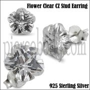 925 Sterling Silver Flower CZ Earring