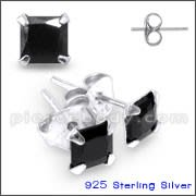 3 To 6 MM 925 Sterling Silver Square CZ Earring