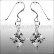 8MM 925 Sterling Silver Square CZ Earring