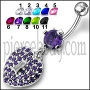 Blue Multi Jeweled Fancy Silver Dangling Banana Bar Navel Ring