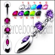 Pink Jeweled Fancy Silver Dangling SS Banana Belly Ring
