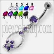 Jeweled Fancy Silver Dangling 316L SS Banana Bar Navel Body Jewelry Ring