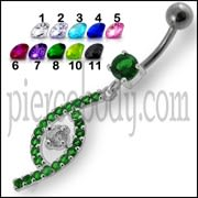 Jeweled Fancy Silver Dangling SS Bar Curved Navel Ring