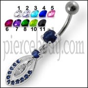 14G Jeweled Fancy Silver Dangling SS Bar Banana Belly Ring