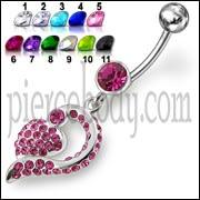 Pink Jeweled Fancy Silver Dangling Banana Bar Navel Ring