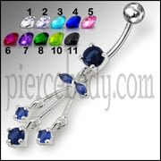 Blue Jeweled Fancy Silver Dangling Navel Banana Bar Ring