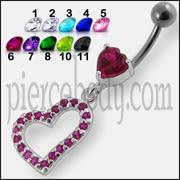 Jeweled Fancy Heart Loop Silver Dangling SS Banana Navel Ring