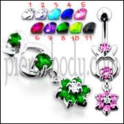 Jeweled Hanging Flower Dangling Belly Ring