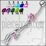 Fancy Jeweled Panther Dangling Belly Ring