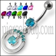 Fancy Jeweled Round With Stone Pendulum Dangling  Banana Bar  Belly Ring