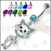 Fancy Funny CAT Jeweled Dangling Navel Ring