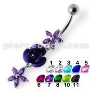 Center Rose Jeweled Dangling Belly Ring
