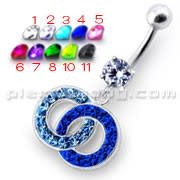 Fancy Multi Colored Stone Studded Crossed O  Dangling SS Bar Belly Ring