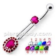 Fancy Red Jeweled Royal Design Dangling Belly Ring