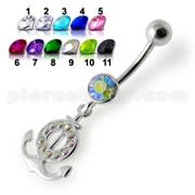 Silver Fancy Multi Jeweled Logo Dangling Banana Bar Belly Ring