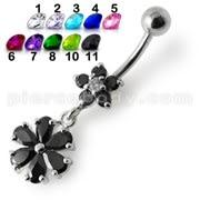 Fancy Black Jeweled Wheel Dangling 316L SS Belly Ring Body jewelry