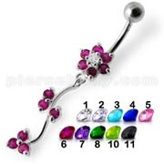 Jeweled Red Dangling Flower SS Bar Belly Ring