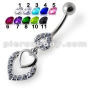 Fancy Jeweled Multi Heart Dangling Navel Ring