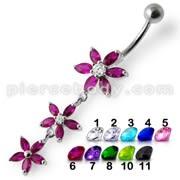 Fancy Pink Jeweled Multi Star Dangling SS Bar Navel Ring