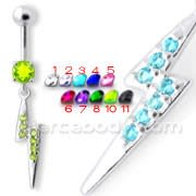 Jeweled Lightning Bolt Belly Ring