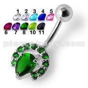 Fancy Green Jeweled Silver Banana Navel  Ring Body Jewelry