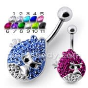 Angry Bird Silver Belly Ring