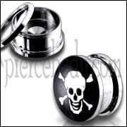Naughty Skull Logo With SS Screw Fit Ear Tunnel