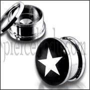 Classic White Star Logo SS Screw Fit Ear Tunnel