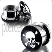 SS Internal Screw Fit With Skull Logo Ear Tunnel