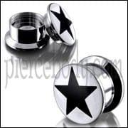 SS Internal Screw Fit With Black Star Logo Ear Tunnel