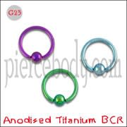 G23 Grade Anodised Titanium Captive bead Ring