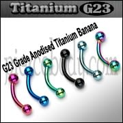 G23 Grade Anodised Titanium Banana with ball