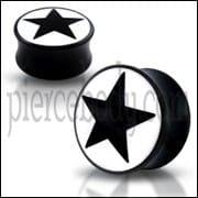 Double Flared Black Star Logo Ear Plug