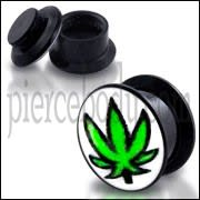 Black UV Internal Marijuna Leaf Screw Fit Ear Tunnel