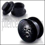 Black UV Internal Mummy Skull Logo With Screw Fit Ear Tunnel