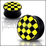 Black UV Internal Yellow Checker Logo With Screw Fit Ear Tunnel