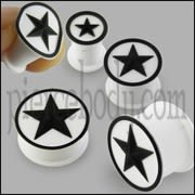 Embossed Black Star Silicone White Ear Plug