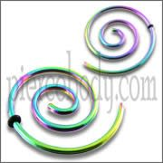 Anodized Rainbow Spiral Ear Plug Stretcher