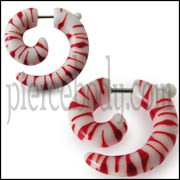 Hand Painted Pink And Red Fake Ear Plug