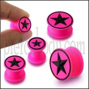 Embossed Black Star Silicone Ear Tunnel