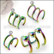 Rainbow Anodized Cartilage 'Clip-On' Lip Closure Ring