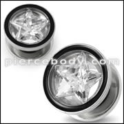 SS Star Jeweled Screw Fit Flesh Tunnel