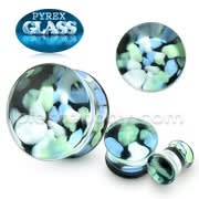 Blue and Green Pebble Pyrex Glass Ear Plug