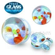 Multi Color Pebble Pyrex Glass Ear Plug