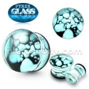 Aqua Pebble Pyrex Glass Ear Plug