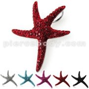 Multi Crystal stones Star Fish Pendent