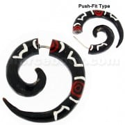 Organic Horn 5 mm Spiral with Tribal inlay Fake Ear Plug Gauges