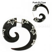 Organic Horn 8 mm Spiral with Flower inlay Fake Ear Plug Gauges